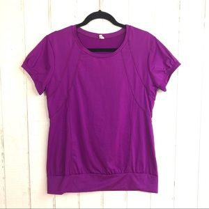 GAIAM Purple Workout Yoga Tee L